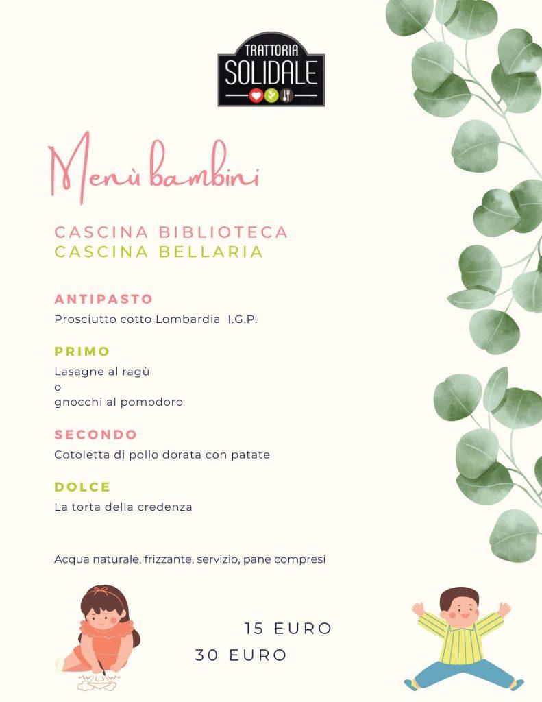 Menù bambini Trattoria Solidale Milano